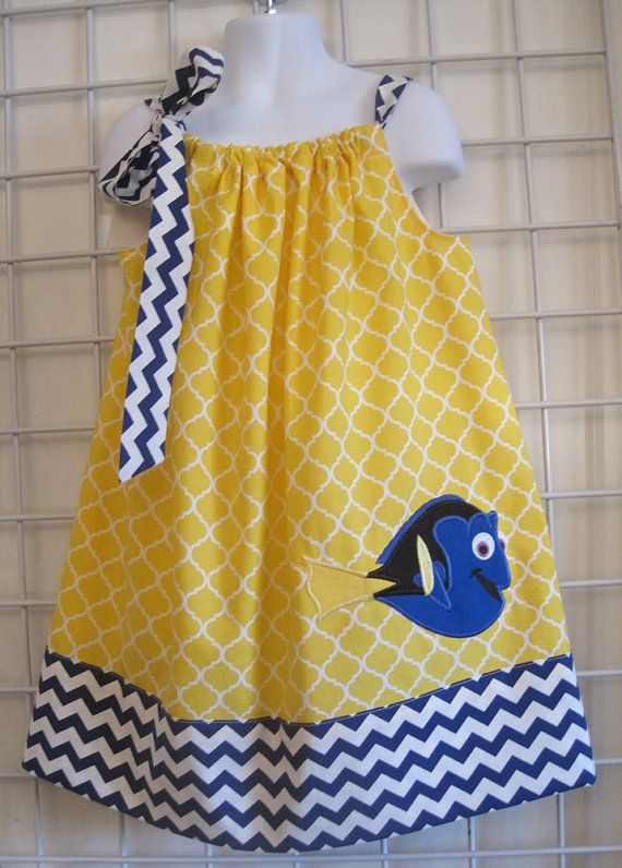Dory Dress, Finding Nemo Dress, Pillowcase Dress, Royal Blue Chevron, Yellow Quatrefoil, Fish Dress, Disney Movie Inspired, Size 2T to 14  I'm a Beachbody Coach! Message me to get healthy!