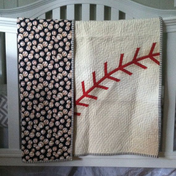 The Vintage Baseball Quilt by InkAndThreadQuilts on Etsy