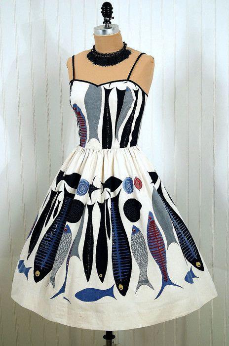 vintage 1950s fashion Geweldig met die vissen!!!