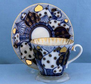"Lomonosov Fine Collectible Porcelain ""Domes"" Tea Cup and Saucer"