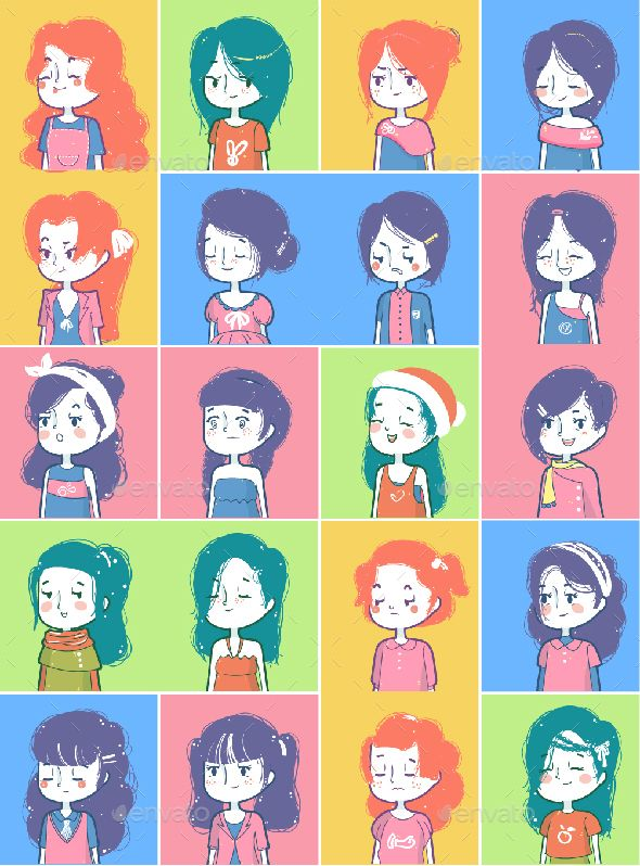Set of hand draw style girl avatar with all vector elements, Choose from 20 hairstyles, 20 outfits, and various of characters face combinations Make your own characters in just  few click! (and it ...