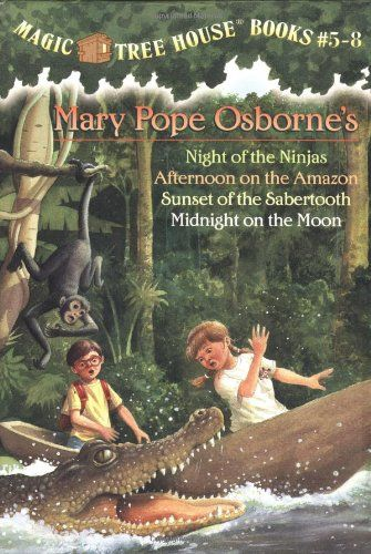 Magic Tree House Boxed Set, Books 5-8: Night of the Ninjas, Afternoon on the Amazon, Sunset of the Sabertooth, and Midnight on the Moon by Mary Pope Osborne http://smile.amazon.com/dp/0375822666/ref=cm_sw_r_pi_dp_EKpwwb1E84Z9K