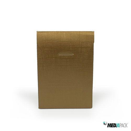 Embalagem dourada para pequenos objetos.