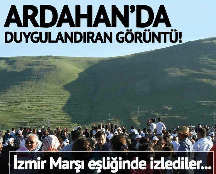 Ardahan'ın Damal ilçesindeki Karadağ sırtlarına yansıyan Ulu Önder Mustafa Kemal Atatürk'ün silueti İzmir Marşı eşliğinde izlediler 2017