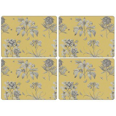 Pimpernel Sanderson Etchings and Roses Yellow Placemats - Set of 4