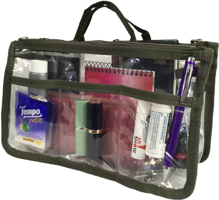 Wholesale Handbag Organizer - Clear/Dark Green (Case of 20)