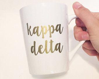 Sorority Script Font Custom White Ceramic Coffee / Tea Mug Kappa Delta - Gold