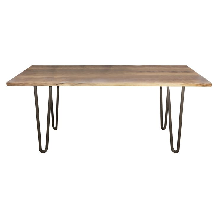 Dining table solid walnut sealed top on mild steel hairpin legs