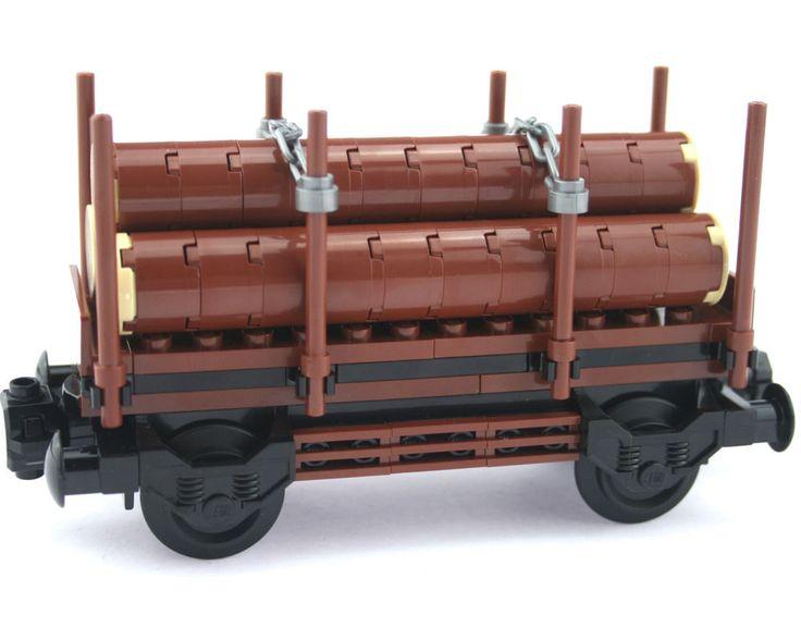 Hall of Bricks 3009 - Eisenbahn Waggon mit Baumstämmen aus LEGO® Teilen