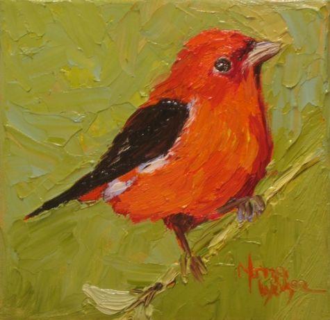 Norma Wilson Virginia Artist Impressionist Original Oil Scarlet Tanager Bird Portrait Art