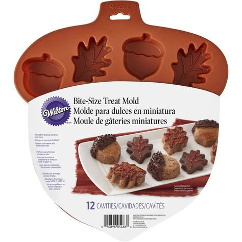"Make mini cakes that are perfect for fall using the Silicone Leaf Acorn Mold. Oven-safe up to 500°F, versatile silicone molds are perfect for baking mini cakes, brownies and other baked goods. Flexible, non-stick silicone makes it easy to ""pop"" treats right out of the mold. Silicone is heat resistant up to 500°F, microwave and freezer safe, too!"