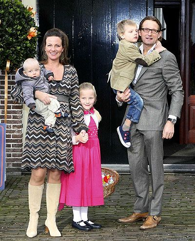 Christening of Benjamin van Vollenhoven-November 3, 2008-Princess Annette holding Benjamin, Isabella and Prince Bernhard holding Samuel