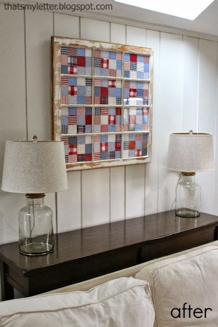 Decorating with quilts: old window framed quilt  ~ tutorial ~ at That's My Letter