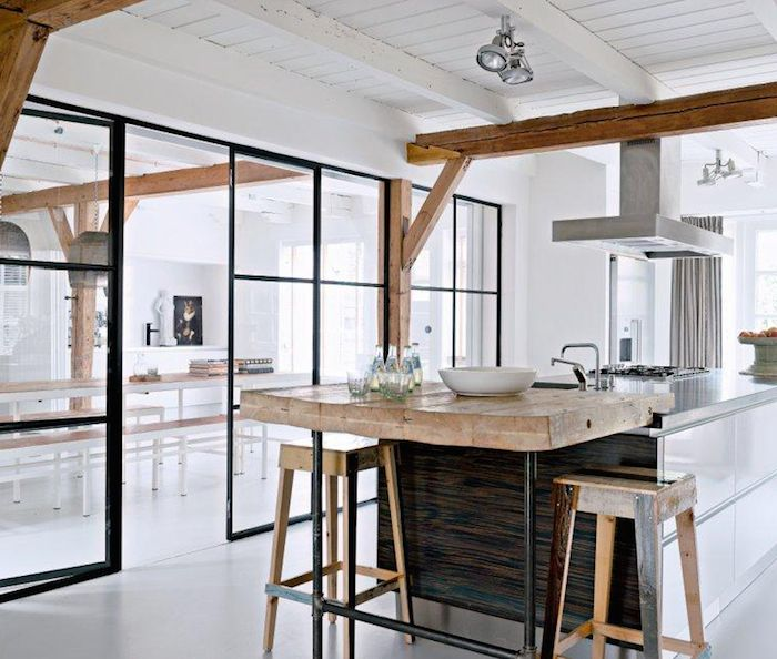 kitchen - steel framed glass wall | photo vincent leroux