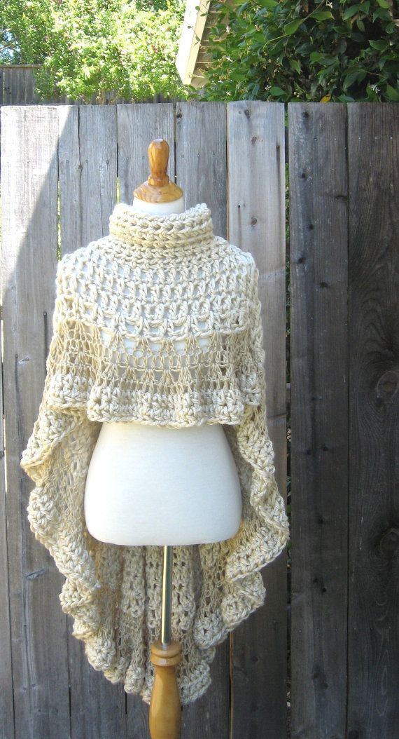 Cream BEIGE PONCHO TURTLENECK Crochet Victorian by marianavail, $95.00