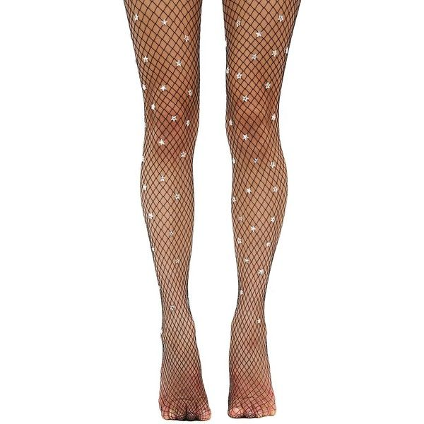 Burners Fishnet Stars Silver Tights ($120) ❤ liked on Polyvore featuring intimates, hosiery, tights, fishnet hosiery, star tights, silver pantyhose, fishnet tights and silver tights