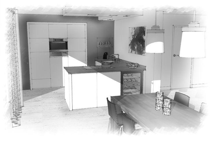 keuken met 'schier-eiland' en wijnkoeler