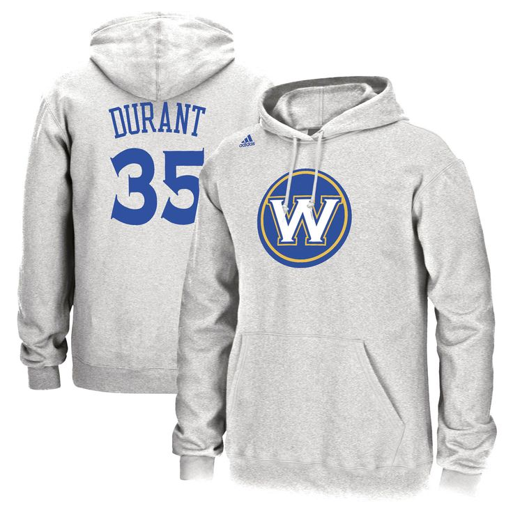 Kevin Durant Golden State Warriors adidas Name and Number Pullover Hoodie - Heathered Gray - $55.99