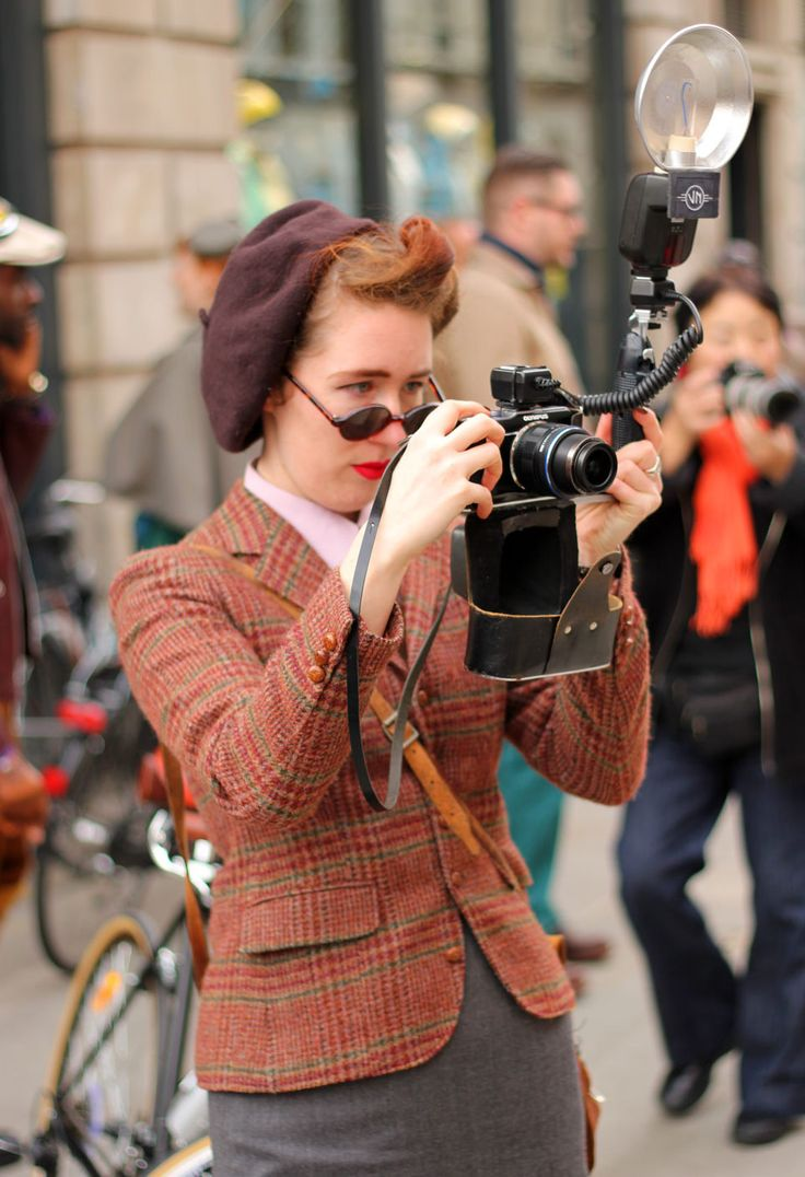 lovely tweed, cool camera, great hair & hat
