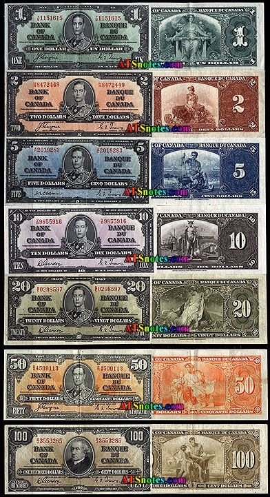 Canada banknotes, 1937 - Canada paper money catalog and Canadian currency history.
