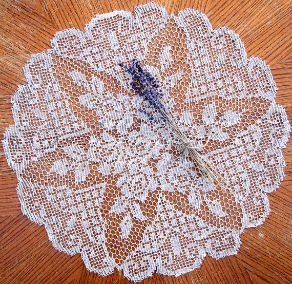 Crocheted Ecru Lace ROSE Doily... No pattern...