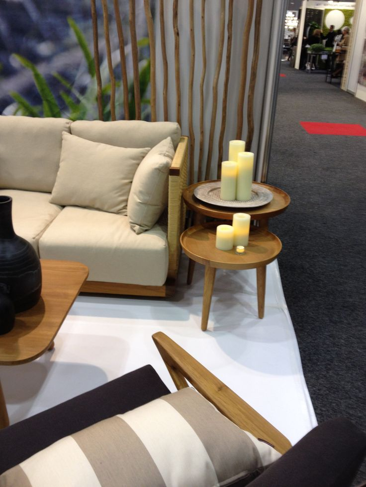 Champagne Colour real wax flameless pillar candles on Satara's oak side tables - simply stunning
