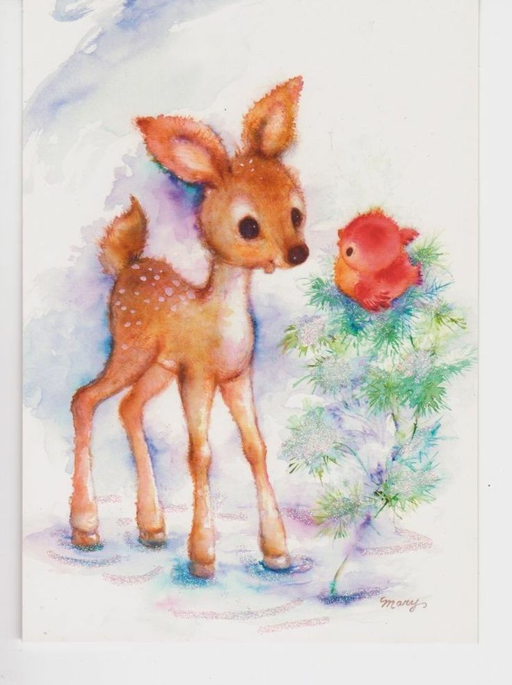 Vintage Mary Hamilton Christmas Holiday Greeting Card Fawn Deer Baby Red Bird