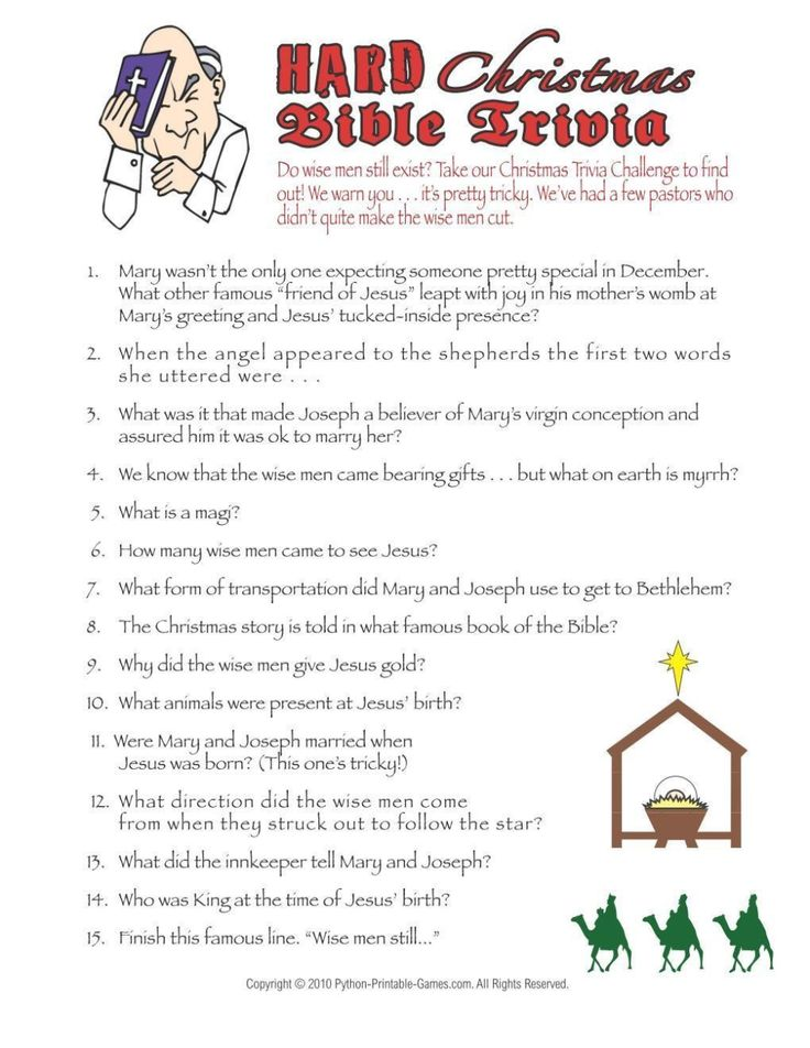 Christmas Christmas Hard Bible Trivia Game in 2020