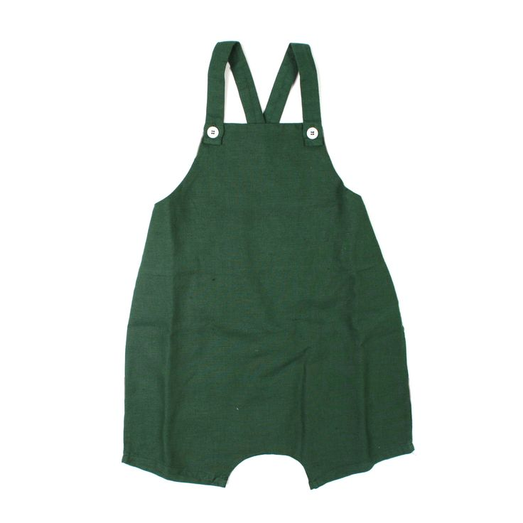 Babe & Tess - Salopette Bebè Lino E Cotone Verde Foglia - annameglio.com shop online #annameglio #babeandtess