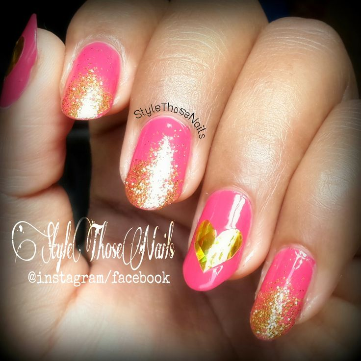 Style Those Nails: I have a golden heart- Valentine Day Nails
