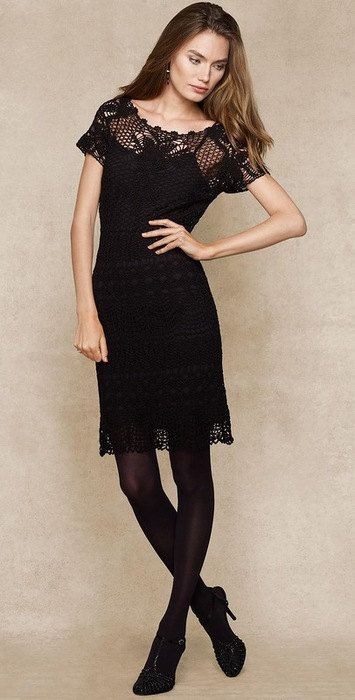 Beautiful Black Dress Lace Crochet Hand-Made by FrenchCrochetStory on Etsy