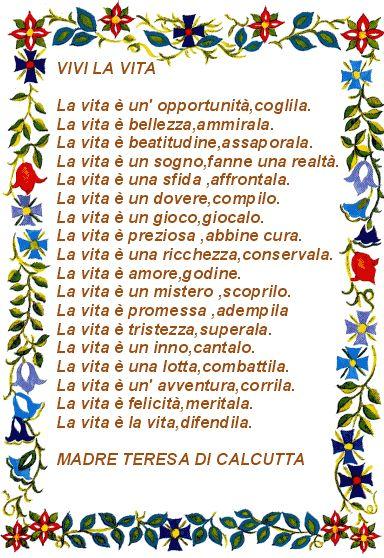 Vivi la vita - Madre Teresa di Calcutta - leggoerifletto