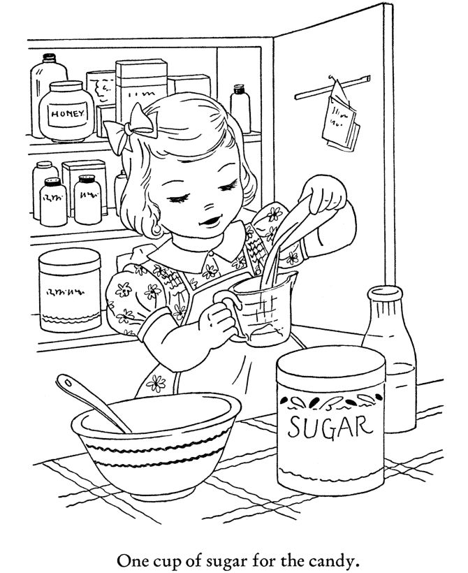 winter season coloring page baking cookies