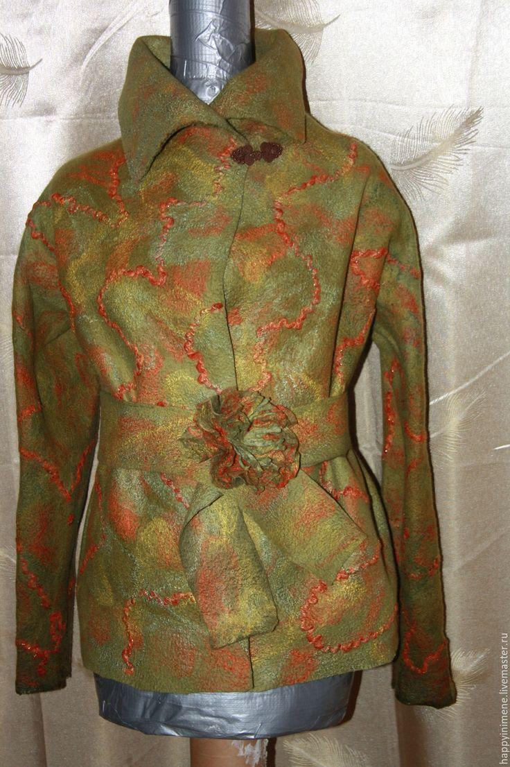 Купить валяный жакет - Олива - хаки, абстрактный, валяный жакет, валяный пиджак, жакет #feltedjacket #валяныйжакет