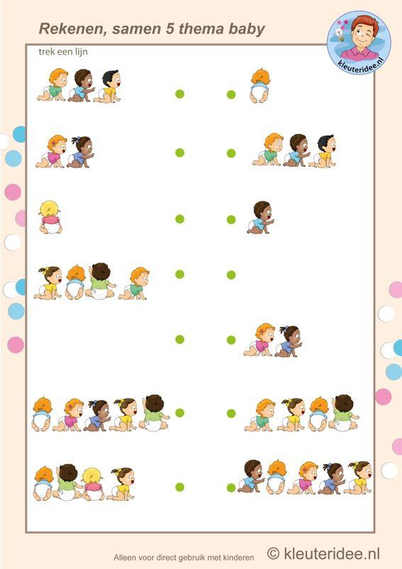 Samen vijf baby's , rekenen met kleuters, Kindergarten math, make five, baby theme, free printable.