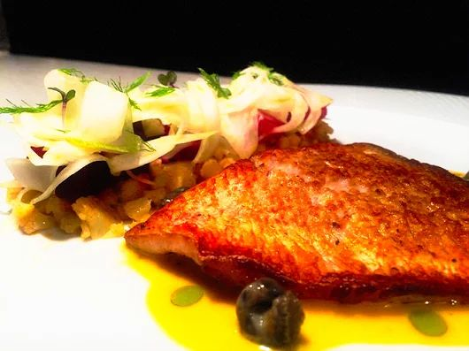 #MustTry at #ElakatiKitchenBar  Sautéed Scorpaena Fish with couscous cauliflower, beetroot, fennel, sea snails, pine seaweed and mandarin sauce!  Σκορπίνα Σωτέ με κους κους κουνουπίδι, παντζάρι, φινόκιο, κοχλιούς θαλάσσης και σάλτσα μανταρίνι!   Με την υπογραφή του executive #chef Kimon Ligdasκαι την ομάδα του!  #OnTripAdvisor #gastronomia #creativecuisine #elakatales #greekgastronomia