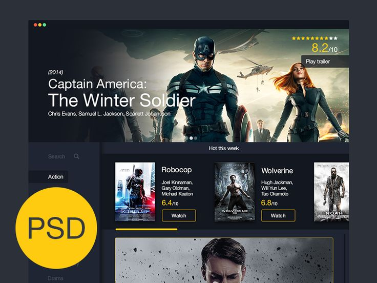 Movies UI Freebie | #ui #webdesign #psd
