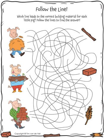 Which line leads to the correct building material for each little pig?