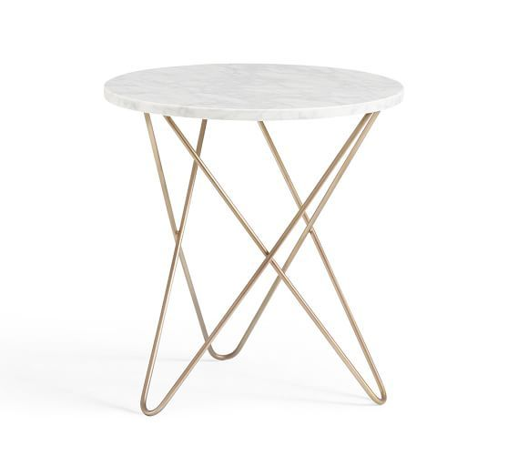 Darcy Marble-Top Accent Side Table | Pottery Barn
