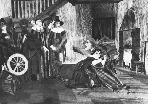 """In the image above, one of the young female victims of the Salem Witch Trials is shown clutching her father in fear of witchcraft. The young victim appears to be showing her """"symptoms"""" to community religious leaders, providing the proof needed to imprison the afflicted. When those imprisoned were tried in court, the victims would be present, and they would also put on a show of strange behaviors for the watching jury members."""