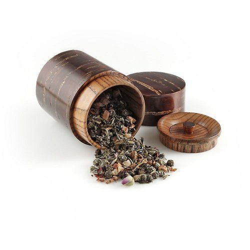 Teavana Cherry Bark Tea Canister by Teavana. $24.95. Cherry bark tea canisters have been celebrated in Japanese culture for over 1,000 years. They were originally developed for the Samurai class and are considered an art form. Completely made of cherry wood. Includes internal lid to keep tea fresh.