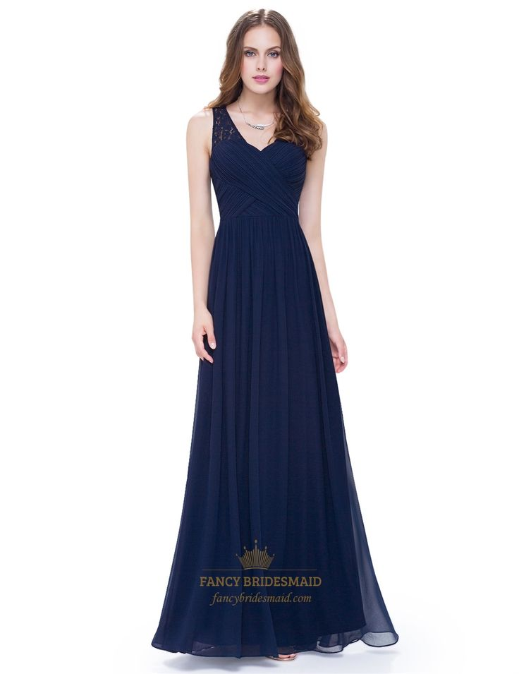 FancyBridesmaid.com Offers High Quality A Line Ruched Chiffon Lace Strap Prom…