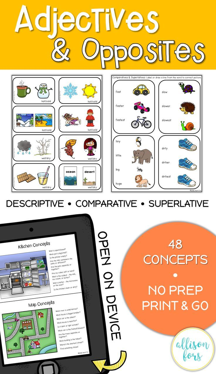 Adjectives And Opposites Worksheets No Prep Speech Therapy Speech Therapy Speech Therapy Activities Speech Therapy Materials [ 1275 x 736 Pixel ]