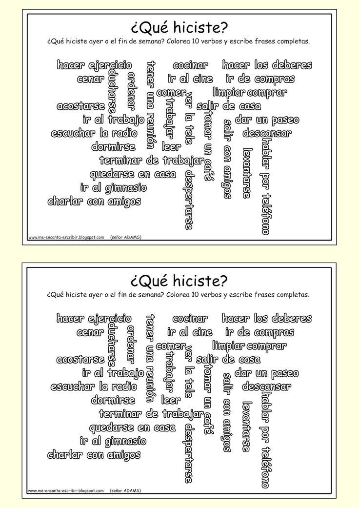 Me encanta escribir en español: el pretérito