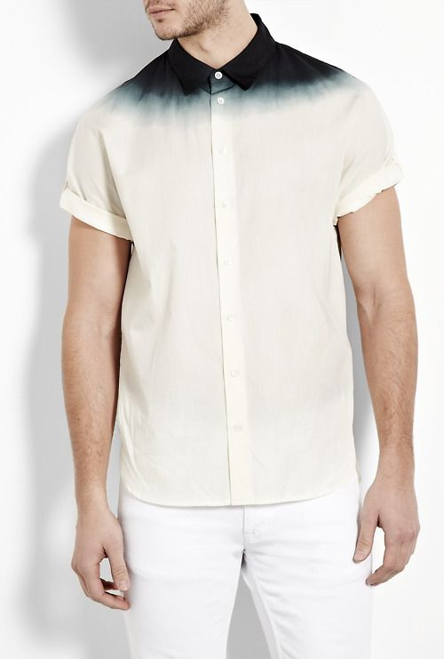 ...!: Phillip Lim, Dips Dyed, Dips Dyes, Men Style, Men Shirts, Shorts Sleeve Shirts, Collars, Ties Dyes, Dyed Shorts