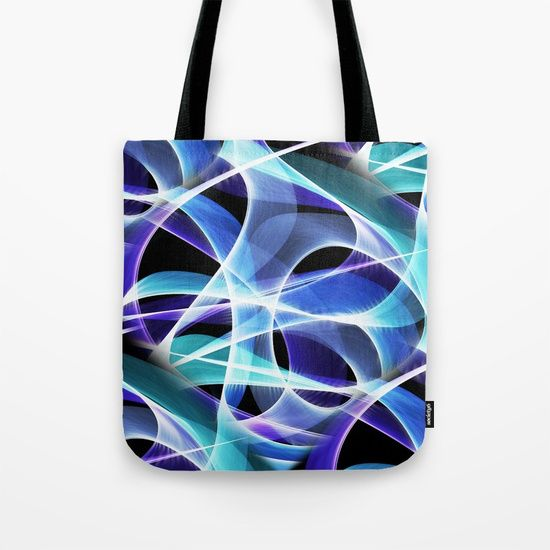 """Waves Pattern on Black Tote Bag by Terrella.  Our quality crafted Tote Bags are hand sewn in America using durable, yet lightweight, poly poplin fabric. All seams and stress points are double stitched for durability. Available in 13"""" x 13"""", 16"""" x 16"""" and 18"""" x 18"""" variations, the tote bags are washable, feature original artwork on both sides and a sturdy 1"""" wide cotton webbing strap for comfortably carrying over your shoulder."""