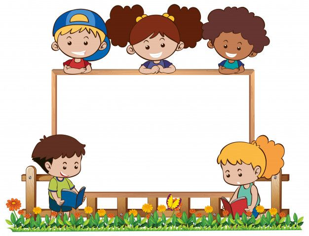 Download Board Template With Five Kids In Garden For Free Happy Children S Day Kids Frames Vector Free