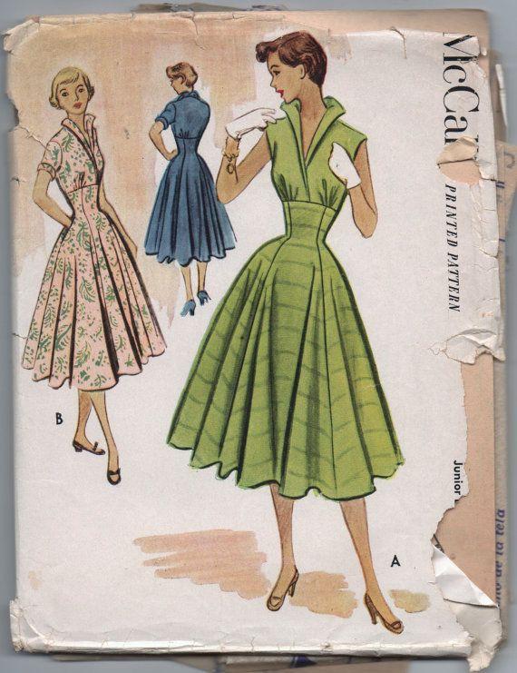 VERY RARE 1950s vintage pattern McCall's 8835 size 13 bust 31 waist 25 1/2 hips 34 Junior dress. $19.99, via Etsy.
