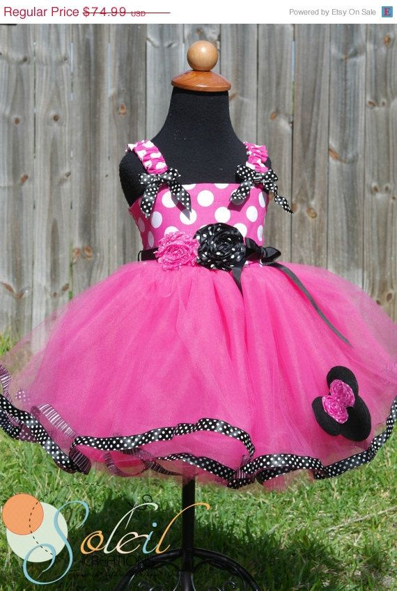 Hot Pink Minnie Mouse Tutu Dress In Black and White by SCbydesign, $67.49