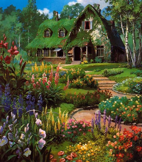 : Gardens Ideas, Cottages Houses, Fairytale Cottages, Dreams Houses, Not Them Miyazaki, English Cottages, Houses Studios, Cartoon Backgrounds, Studios Ghibli